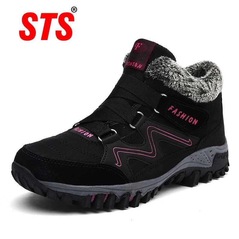 STS MARKA 2019 Yeni Kış yarım çizmeler Kadın Kar Botları Sıcak Peluş Platform Çizme Moda Kadın Kama Ayakkabı Kar Su Geçirmez ayakkabı