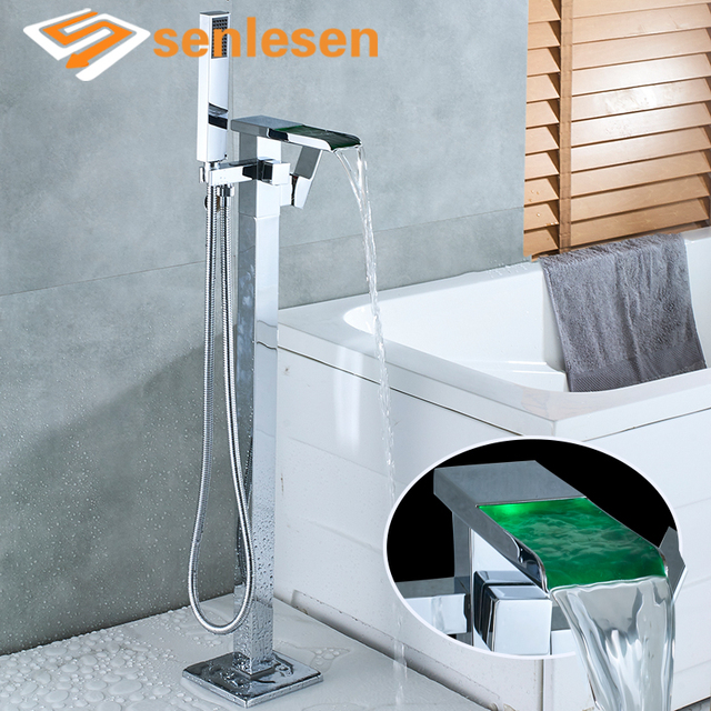 Senlesen Bathtub Faucet Chrome Waterfall LED Tub Faucet Floor Mount Shower  Faucets Cold And Hot Water