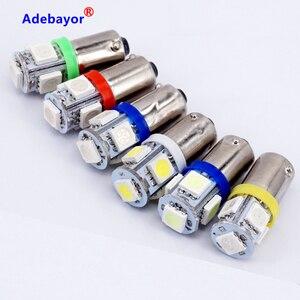 Image 4 - 300X T11 BA9S 5 SMD 5050 Led lampen 5SMD T4W 1445 Q65B H6W 182 53 57 Auto Indikatoren Licht innen Birne Keil Lampe 7 farbe