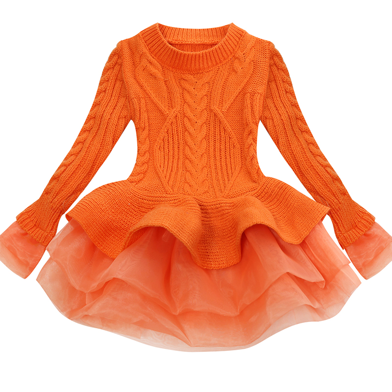 Korea Lace Knitted Sweaters Warm Dresses Winter Baby Wear Clothes Girls Clothing Sets Children Dress Child Clothing Kids Costume 5