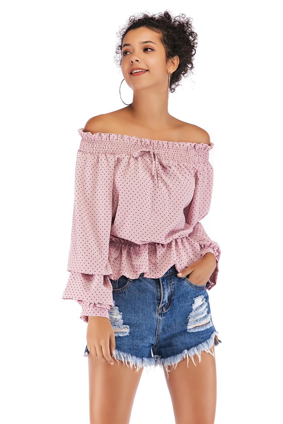 Gladiolus Chiffon Blouse Women 2019 Spring Autumn Long Sleeve Polka Dot Off Shoulder Sexy Blouses Women Shirts Ruffles Blusas (30)