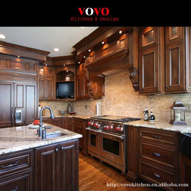 American Style Luxury Cherry Solid Wood Kitchen Cabinets Imported From China