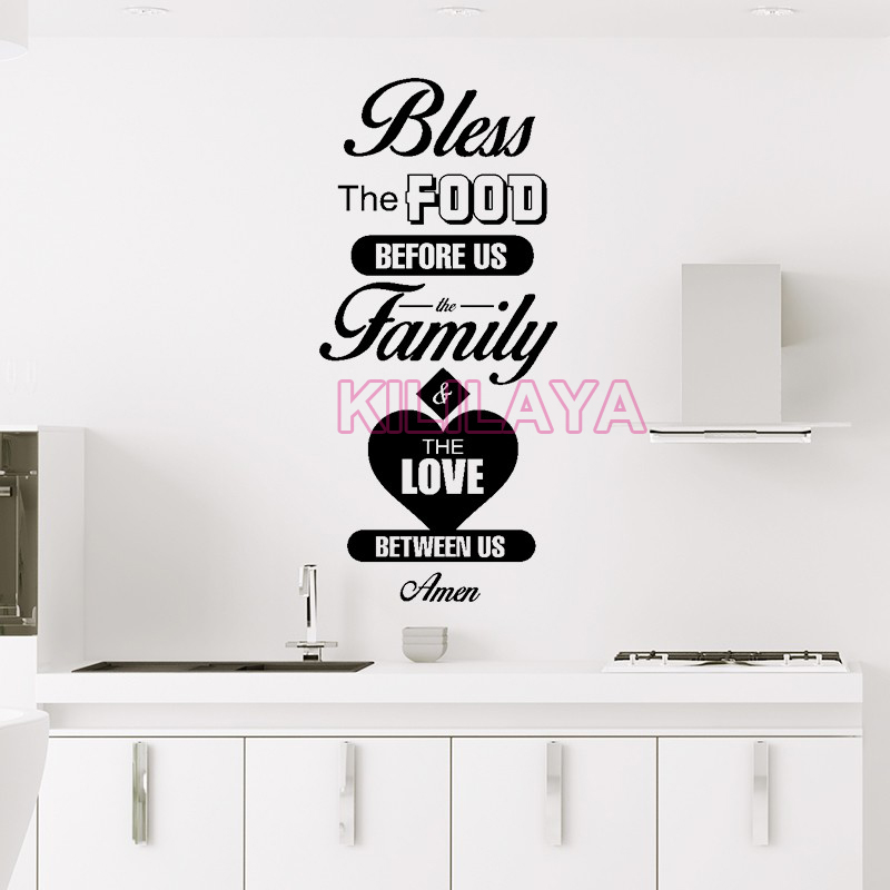 Stickers Cuisine Vinyl Wall Sticker Wall Decals Bless Food Christian Mural  Tile Wall Art Kitchen Wallpaper Home Decor Decoration In Wall Stickers From  Home ...