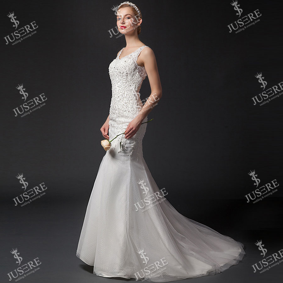 Lace Bridal Gown Tulle Beading Open Hole Back With Straps Floor Length Real Photo Open Back Lace Mermaid Wedding Dress 2016