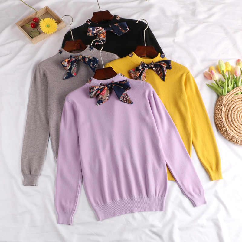 Осенне-зимние женские свободные шерстяные трикотажные свитера рубашки женские Джокер с длинным рукавом на шнурке пуловеры с бантиком свитер Топ