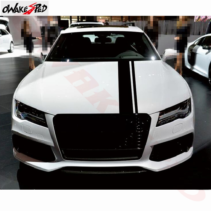 Racing Sport Styling Car Hood Decor Sticker For Audi RS RS3 RS4 RS5 RS6 RS7 TT RS RS Q3  Auto Head Accessories Vinyl Decal