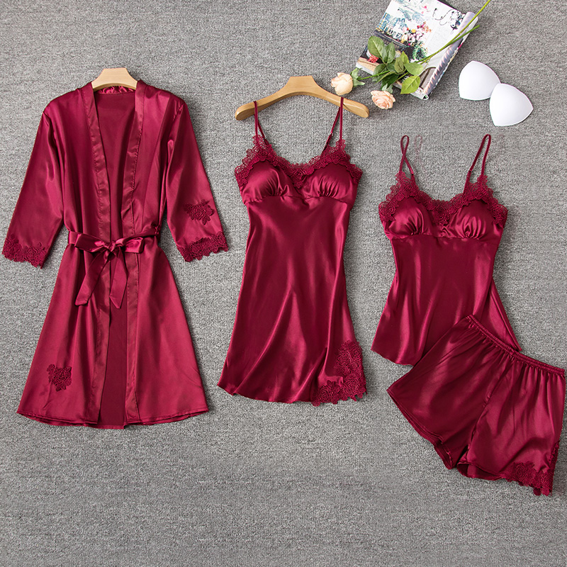 Women Sleeping Lounge set Sleeveless Summer Home Nightwear wear Robe bustier Silk dress Nuissette Ensemble 5 Sets