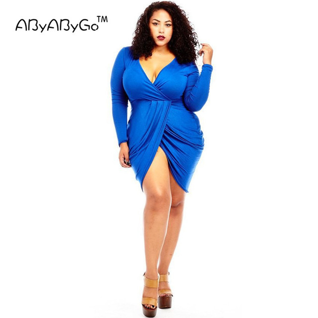 Abyabygo Summer Club Dress Long Sleeve Bodycon V Neck Sexy Mini