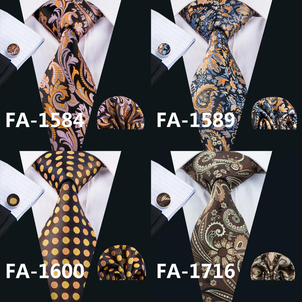 Gents Brown Paisley 100% Silk Jacquard Tie Hanky Cufflinks Set