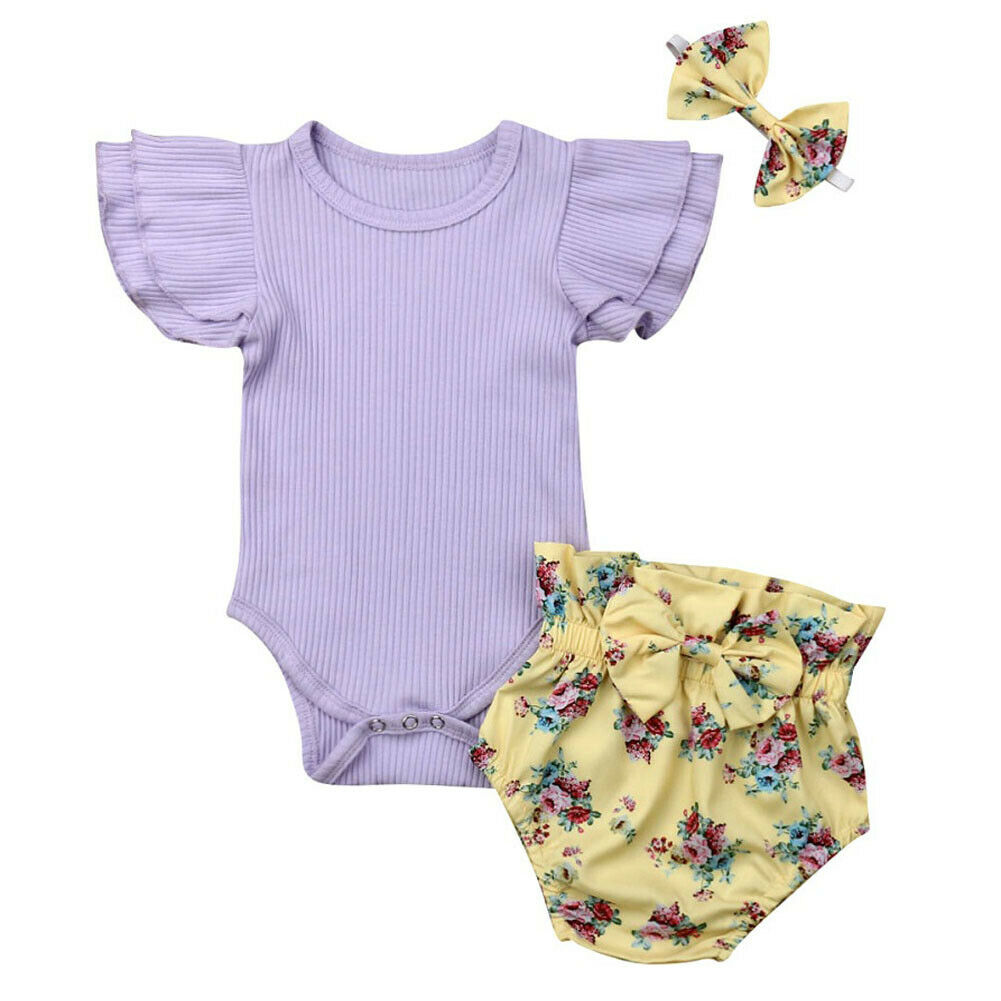 Pudcoco Newborn Baby Girl Clothes Solid Ruffle Sleeve Romper Jumpsuit Top Floral Shorts Headband 3PCS Summer Kids Outfit Set