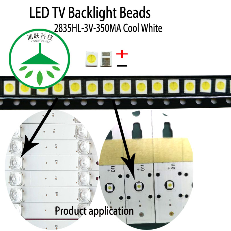 YONGYUEKEJI 100pcs/lot new <font><b>led</b></font> tv backlight high power <font><b>2835</b></font> <font><b>3v</b></font> 350ma <font><b>1w</b></font> smd cool white lamp beads image