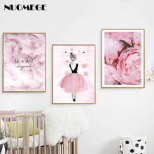Pink Flower Feather Posters and Prints Wall Art Ballet Girl Canvas Painting Scandinavian Style Decorative Pictures Home Decor