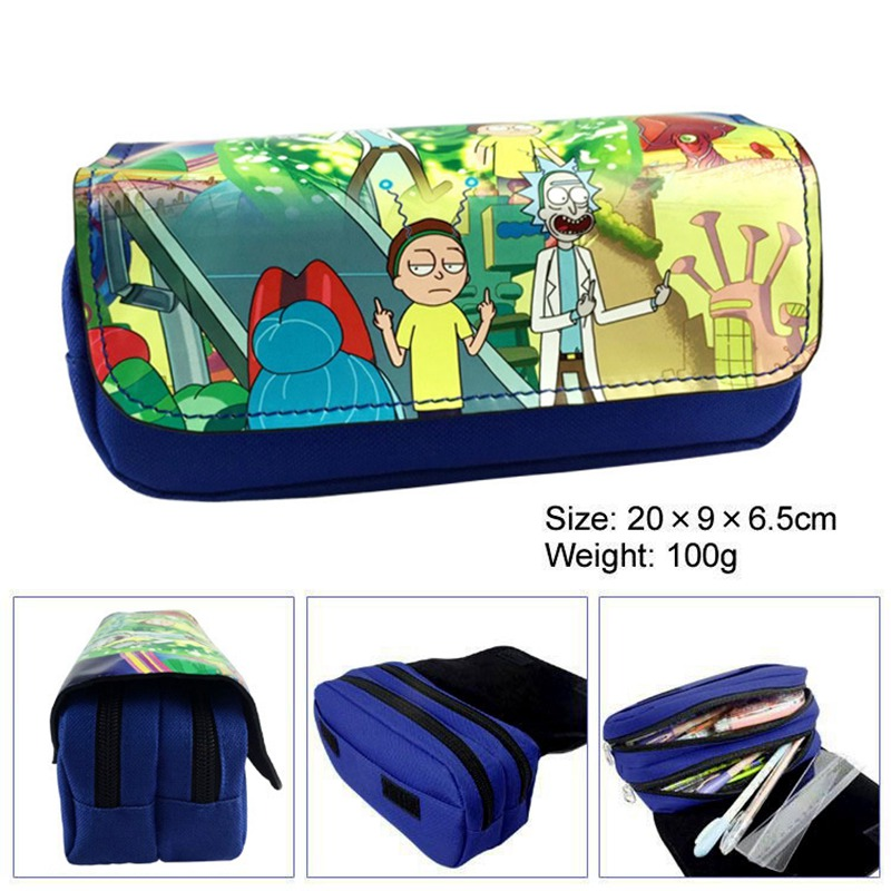 Kawaii Cartoon Rick And Morty Pencil Case Cute Pencil Bag Pouches Double Layer Children Girl Student School Stationery Kids Gift teenage mutant ninja turtles tmnt boys cartoon pencil case bag school pouches children student pen bag kids purse wallet