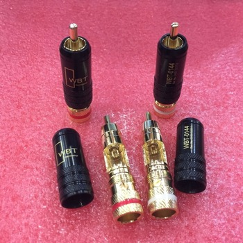 Free Shipping 50PCS New RCA WBT-0144 signal line plug RCA plug lotus head copper WBT 0144 RCA male connector gold plated