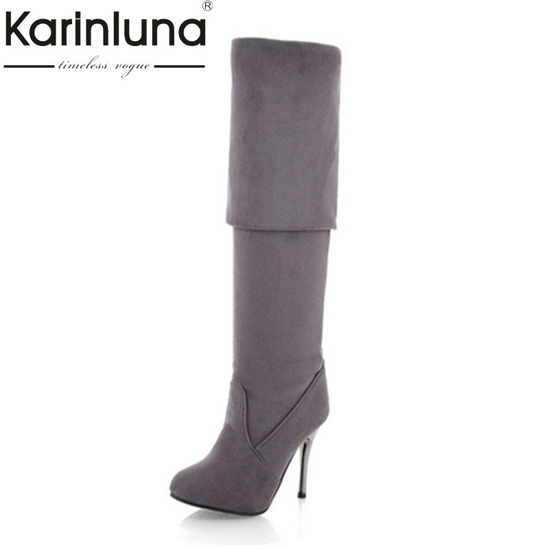 Big Size 34-43 High Heels Women Boots Over the Knee High Boots Party Sexy Lady Fashion Winter Woman Shoes Brand New brand new fashion black yellow women knee high cowboy motorcycle boots ladies shoes high heels a 16 zip plus big size 32 43 10