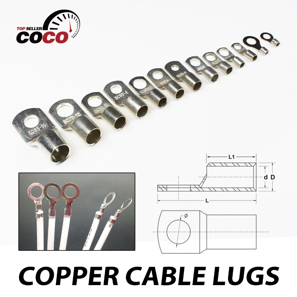 50pcs Multiple Sizes Copper Cable Lugs Ring Battery Terminal Connector Wire Gauge Welding Automotive