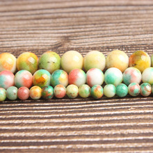 Lan Li fashion natural Jewelry yellow colorful jades Loose beads DIY woman bracelet necklace ear stud accessories