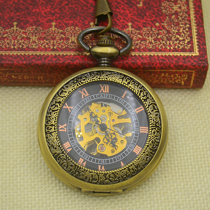 Fashion Mechanical Pocket Watch Antique Classic Bronze Steampunk Fob Watches Men Father Gift Hour Chain Hour Good Quality New