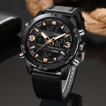 2019 LIGE Mens Watches  Luxury Brand Men Leather Sports Quartz LED Digital Clock Waterproof Military WristWatch