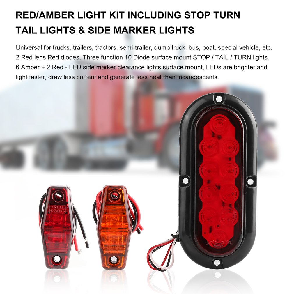 10 PCS Automobiles Truck Side Marker Lights Kit Including LED Stop/Turn Signal/Tail Lights Red and Amber Light Surface Mount kitdxedxcombo50san30001 value kit dixie dinnerware party pack dxedxcombo50 and sharpie permanent marker san30001