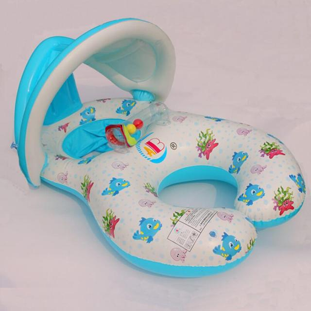 1-3 Years Inflatable Mother and Baby Shade Swim Float Circle Ring Mother Child Swim Circle with Sunshade Swimming Accessories