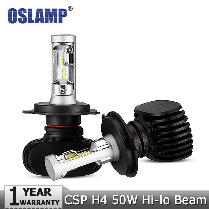 Prix pour Oslamp h4 salut-lo faisceau led phare de voiture ampoules 50 w 6500 k 8000lm auto led phare cree csp puces phares pour toyota/hyundai/kia