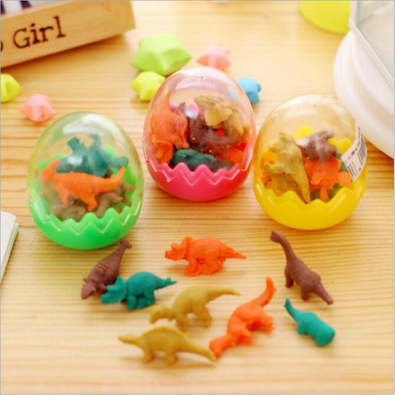 Hot 1 Box Kawaii Dinosaur Egg Animal Pencil Eraser Office And School Students Stationery