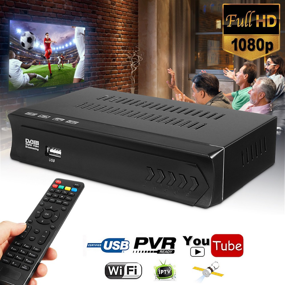 Good Price 1080P DVB-S2 HD Digital Satellite Receiver TV Satellite TV BOX Receiver USB WIFI W/Remote Control Wifi Support цена 2017
