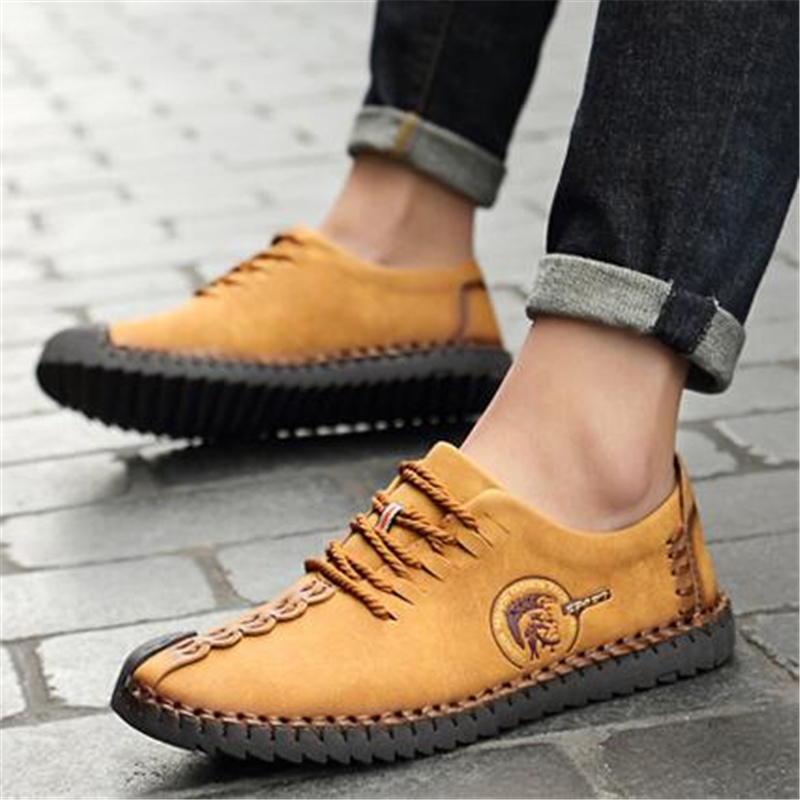 Men Casual Leather shoes Fashion Vintage Handmade Sewing Male Flats Split Leather Popular Business shoes zapatillas hombre 03 in Men 39 s Casual Shoes from Shoes