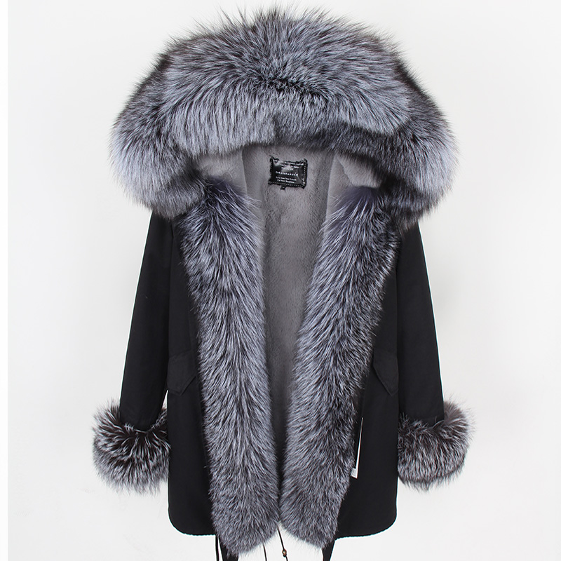 Maomaokong faux fur lined with cotton fur park natural fox fur collar warm casual fur jacket