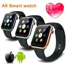 2016 A9 Smartwatch Armbanduhr uhr männer Bluetooth 4,0 Smart Uhren mit fernbedienung kamera Herzfrequenz für Android IOS mit Uhr box
