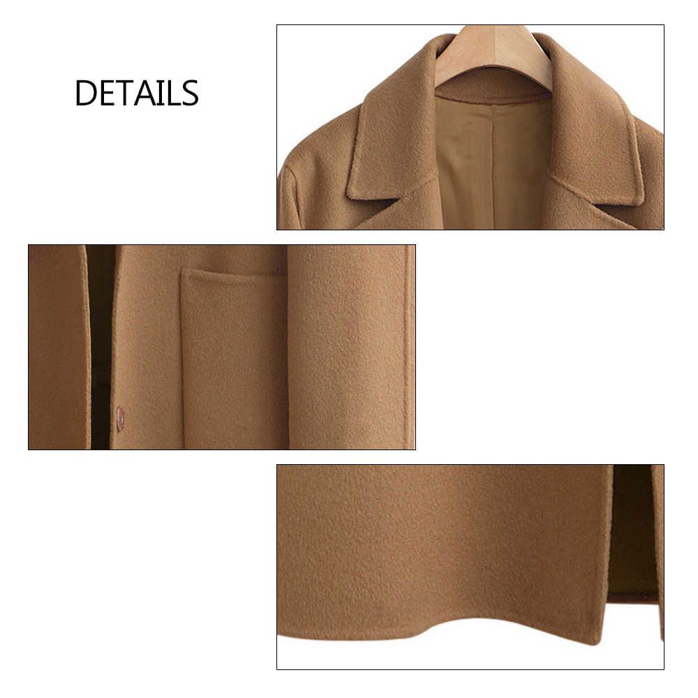 bde0f7732 5xl Plus Size Design Black Camel Wool Coat Women Thick Warm Vintage  Turn-down Collar Jacket Blend Long Sleeve Lapel Button Coats