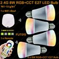 4x MiLight 8 W E27 Temperatura de Cor RGBWW Regulável Lâmpada LED AC85-260V + 1x WiFi iBox1 Lamp + 1x2.4G 4-Zone Sem Fio Toque remoto