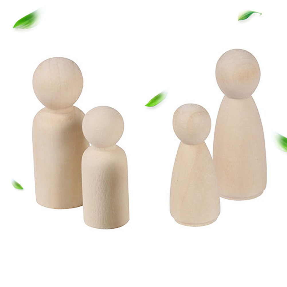 20 Pcs Natural Male Hard Kids Toy Educational Female Wooden Doll Peg Unfinished Paint