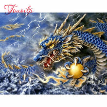"Daimond Painting Cross-stitch ""Dragon fighting"" 3D Diamond painting Full Round square Rhinestone Diamant paint Embroidery animal(China)"