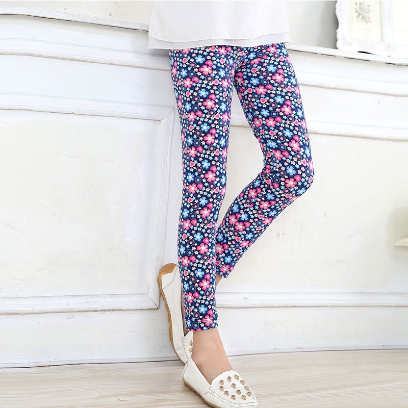 Children Long Trousers Kids Girls Leggings Pants Flower Floral Printed Elastic Pants