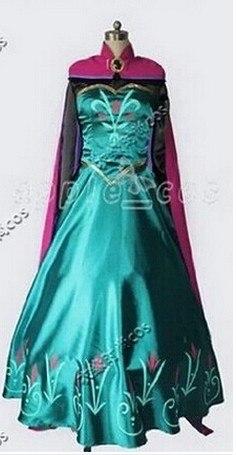 Elsa Coronation Princess Dress Gloves Adult Women Uniform Dresses Halloween Party Club Cosplay Costume with free crown