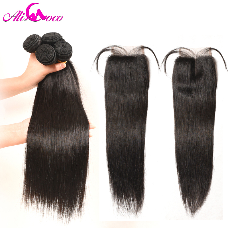Ali Coco Peruvian Straight Hair Bundles With Lace Closure 4x4 Human Hair 3 Bundles With Closure Free/Middle/Three Part Non remy-in 3/4 Bundles with Closure from Hair Extensions & Wigs    1