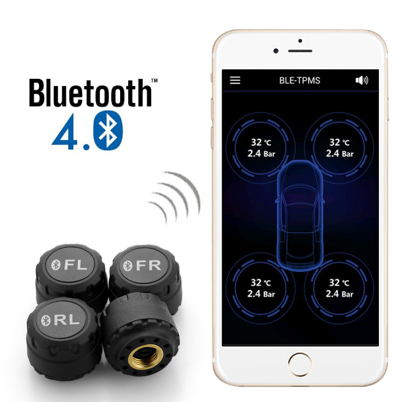 Smart Car TPMS Bluetooth 4.0 Tyre Tire Pressure Monitoring System APP Display 4 Internal/External Sensors Support Android IOS