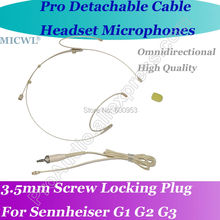 MICWL AS5 Detachable Cable Wireless Headset Microphone for Sennheiser G1 G2 G3 Beltpack - Beige