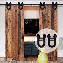 LWZH 16FT/18FT/20FT Classic Style Sliding Closet Wood Door Double Horseshoe Shaped Hardware Kits for Sliding Closet Double Door