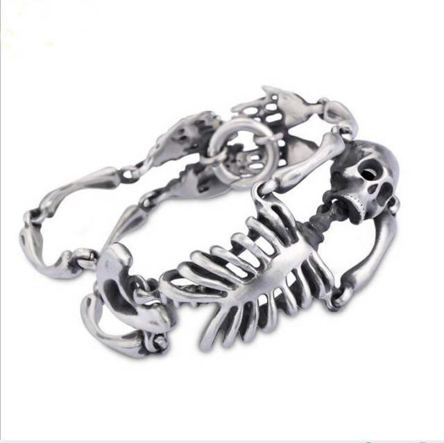 STAINLESS STEEL SKULL SKELETON BRACELET