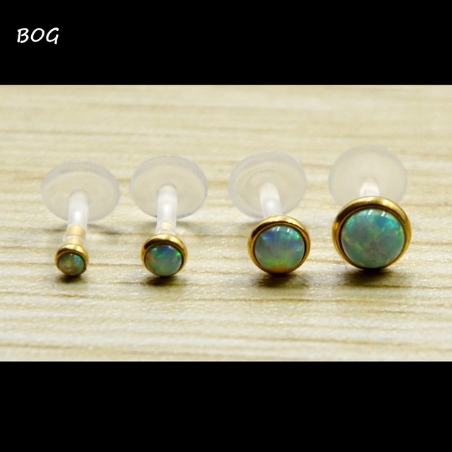 Lot 4Pcs Opal Stone Bioplast Flexible Push In Gold Labret Monroe Lip