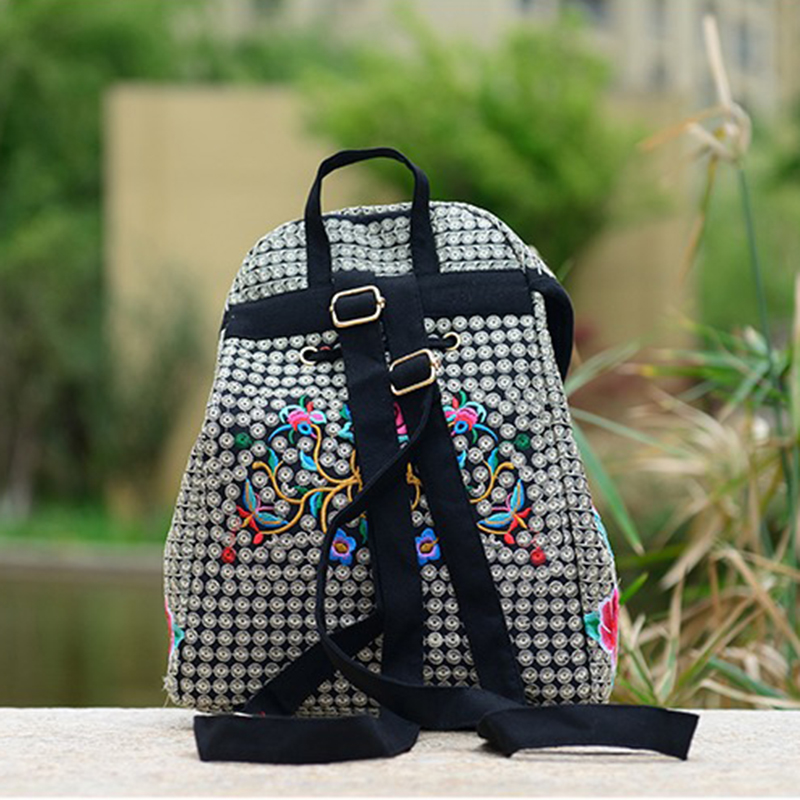 Vintage Embroidery Women Backpack Canvas Ethnic Embroidered Feminine Backpack For Girls Travel Bag Schoolbag Back Bag Mochila