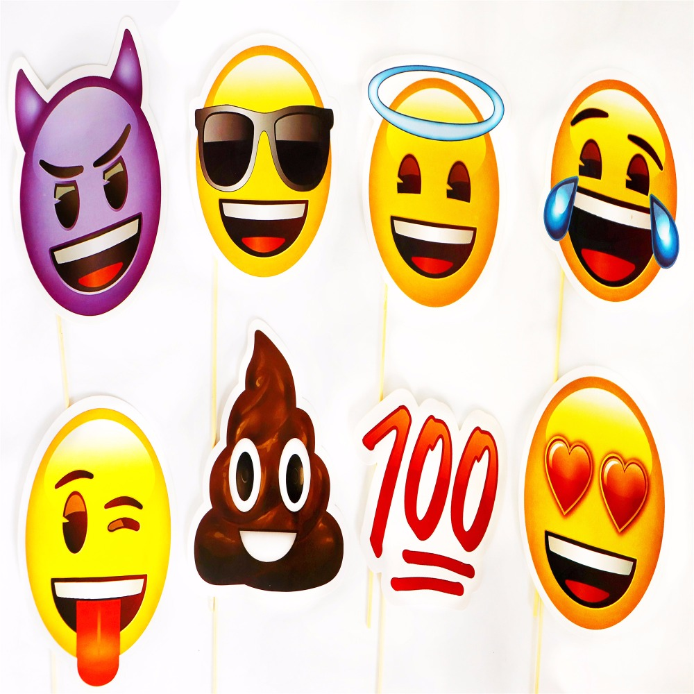 1set Emoji Photo Booth Props Party Mask Funny Smiley Photobooth
