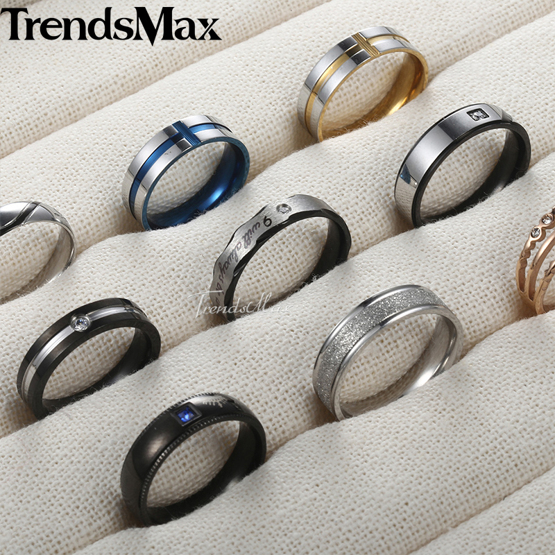 Silver/&Blue 8mm Men/'s Stainless Steel Engagement Jewellery Party Ring Size 7-12