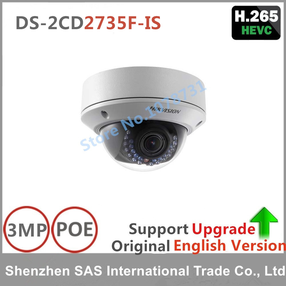 Hikvision Original DS-2CD2735F-IS replace DS-2CD2732F-IS H265 H264 IP Camera Dome network camera support POE CCTV IP VF lens IPC