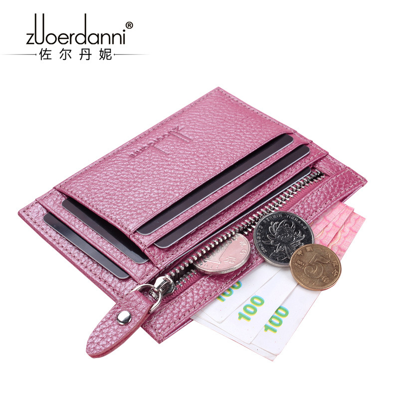 Womens Genuine Leather ID/Credit Card Holder Slim Brand Designer Small Thin Purse Zipper Pocket For Coin Men Women Mini Walle