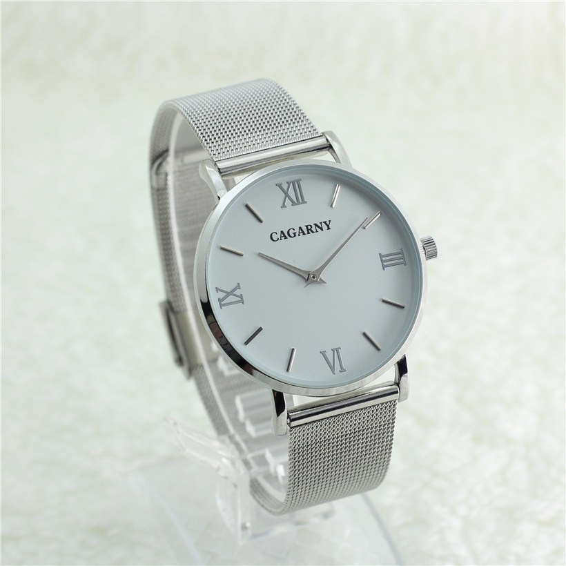 Famous Brand Silver Casual CAGARNY Quartz Watch Women men Metal Mesh Stainless Steel Dress Watches Relogio