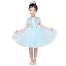 2020 白シフォンフラワーガールのドレススパンコールページェント子供の誕生日パーティー子供のための王女の衣装